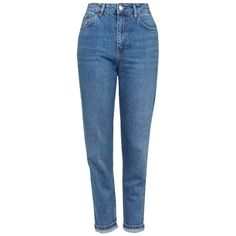 TopshopMotoHigh Rise CropJeans (1.185 ARS) ❤ liked on Polyvore featuring jeans, pants, bottoms, short jeans, retro high waisted jeans, high waisted blue jeans, high waisted jeans and high rise jeans