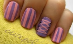 Cute pink and purple nail art for Disney's Tangled