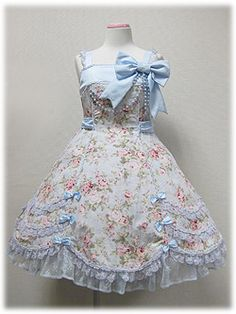 Angelic Pretty / Jumper Skirt / Fleur Humming JSK | bow dress floral ruffles pastel blue baby blue pink lace matte satin