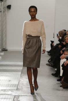 Another daytime look - the drape of the skirt adds more Romantic overall. Agnona Fall 2016