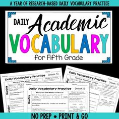 Break down the barrier to your students' learning  through research-based vocabulary practice that takes less than 10 minutes per day. Vocabulary and word knowledge have been shown to be strong predictors of reading and life success. Many struggling fifth grade students lack that knowledge of common academic vocabulary that would help them be successful, making it critical that we provide focused, purposeful instruction.