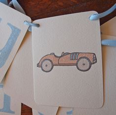 vintage race car happy birthday banner