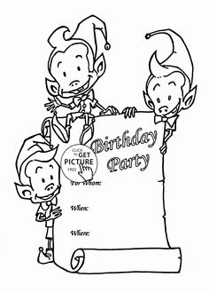 Birthday Party Card With Funny Elves Coloring Page For Kids Holiday Pages Printables Free