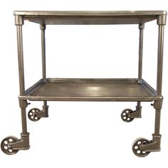 Vintage Industrial Two Tier Cart on Casters