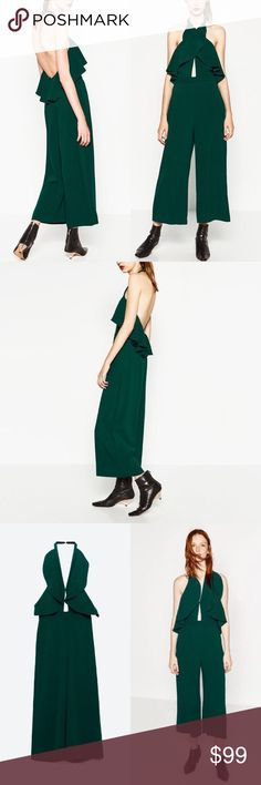 Zara Jumpsuit w Crossover Neckline Long jumpsuit with halter neck and frill. Front slits. Open back. Zara Pants Jumpsuits & Rompers