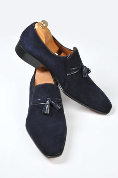 Handmade Navy Blue Loafer Suede Men Shoes