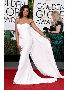 bd93f548618 Sheath Red Carpet Celebrity Dress Strapless White Jersey Prom Dress -  Taraji Henson Jojo Bachelorette