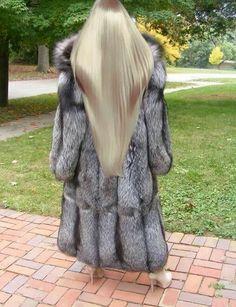 Fox Fur Coat with Hood Silver Long Fur Coat, White Fur Coat, Beautiful Long Hair, Gorgeous Hair, Beautiful Women, Blond, Fox Coat, Fabulous Furs, Fur Fashion
