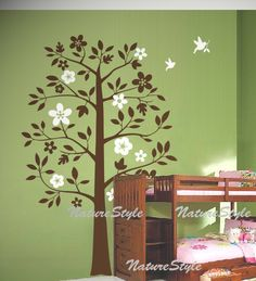 Nursery decalBeautiful Tree with Flying Birds Vinyl by NatureStyle, $66.00