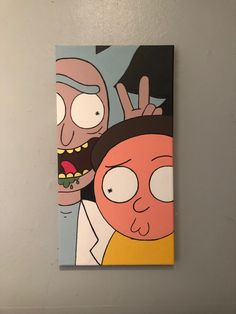 - Art - Rick und Morty Duo Leinwand Curtain and drape headings- Top Tips There are many types of cur Simple Canvas Paintings, Easy Canvas Art, Small Canvas Art, Mini Canvas Art, Painting Canvas, Canvas Canvas, Hippie Painting, Trippy Painting, Cartoon Painting