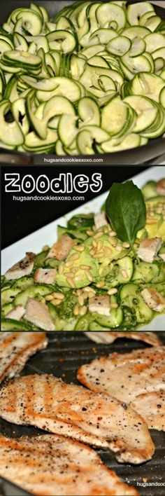 Zucchini Noodles With Grilled Chicken & Pesto