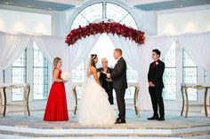 Danielle and Ryan got an extra bit of pixie dust when they were given the opportunity to use floral arrangements purchased for the ceremony after theirs at Disney's Wedding Pavilion!