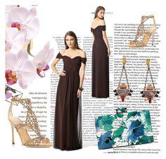 Carmen-Ausschnitt Ärmellos mit Bodenlang Reißverschluss Braun Brautjungfernkleider by johnnymuller on Polyvore featuring Sergio Rossi
