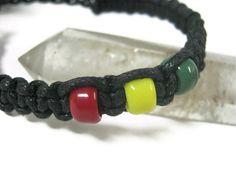 Black Rasta Macrame Bracelet Adjustable by Abundantearthworks, $6.00