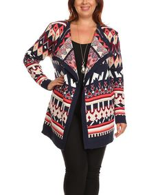 Look at this BellaBerry USA Navy & Red Geo Open Cardigan - Plus on #zulily today!