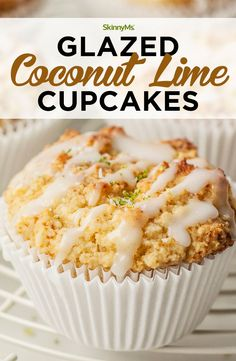 These glazed coconut lime cupcakes make a great low-carb snack or a healthy dessert. They're made with clean ingredients and they're paleo-friendly! Clean Eating Slow Cooker Recipe, Clean Eating Meal Plan, Clean Eating Dinner, Clean Eating Recipes, Clean Eating Snacks, Healthy Eating, Coconut Lime Cupcakes, Paleo Cupcakes, Sweet Recipes