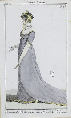 English fashion plates from 1802 and French fashion plates from Year 10 (1801-1802) of the French Republican Calendar. All images come from the collection of the Bibliothèque des Arts Décoratifs. www.lesartsdecoratifs.fr/francais/bibliotheque/