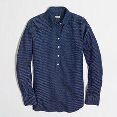 J.Crew Factory  Factory embroidered dot boyfriend shirt