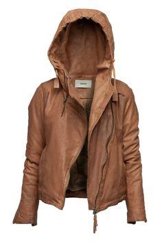 Hooded leather jacket.
