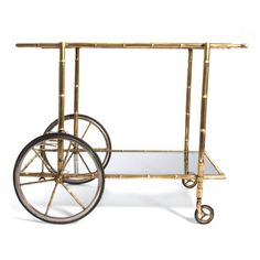 Vintage Flat Top Faux Bamboo and Brass Bar Cart