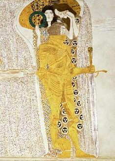 Gustav Klimt -Vienna Secession & Art Nouveau - The Knight detail of the Beethoven Frieze, said to be a portrait of Gustav Mahler Gustav Klimt, Art Klimt, Gustav Mahler, Art Nouveau, Pics Art, William Morris, Art Plastique, Famous Artists, Oeuvre D'art