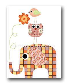 """Lámina para niños niños pared arte bebé niña guardería habitación decoración bebé vivero 8 """"x 10"""" amarillo de elefante rosa de chica imprimir pájaro buho"""