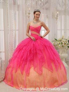Strapless Beading Colorful Sweet 15 Dresses For Custom Made - MyDressCity.com
