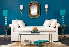 blue living room. LOVE this. Could be so versatile by just changing a few accessories