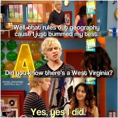 Austin from Austin and Ally. Uh oh, Ross just dissed West Virginia. Disney Channel Shows, Disney Shows, Austin Moon, Raini Rodriguez, Nostalgia, Laura Marano, Austin And Ally, Old Disney, Disney Memes