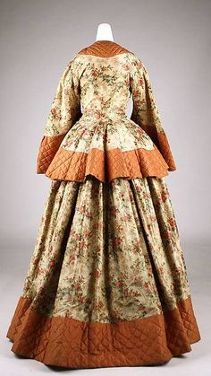 Wrapper Date: ca. 1855 Culture: British Medium:Silk A wrapper was an informal dress that could be worn without a corset around the home, usually while getting ready for an event or taking a meal.