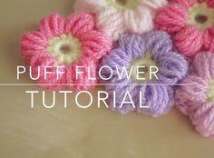 How To Crochet A Puff Flower Tutorial* ༺✿ƬⱤღ https://www.pinterest.com/teretegui/✿༻