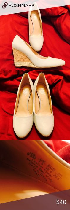 Franco Sarto Leather Almond Toe Wedge Gorgeous white leather Franco Sarto almond toe wedges! Selling b/c mistook sizes on inside of shoe (UK 7.5, which is US 9.5 - I'm usually 7.5/8) 🙄. These are perfect: wedge heel makes walking easy and is high enough to give great leg length, while white color matches any outfit and leather material makes dirt/scuffs easy to fix! There are a few scuffs and dye stain from sticker on right heel (pictured)- otherwise perfect! From smoke/pet-free home. Open…