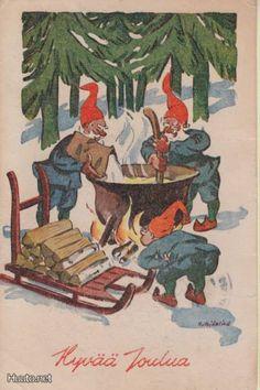 Hans Björklind , Ukko Old Christmas, Vintage Cards, Elves, Gnomes, Santa, Painting, Fictional Characters, Costumes, Hipster Stuff