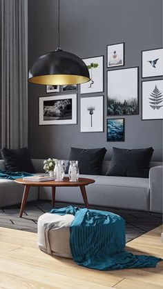 The blue and gold are the main acccents at play, highlighting this natural interior design. Framed by black and gray colors really makes the nordic dream home vision come together as one. Living Room Paint, Living Room Colors, Living Room Grey, Home Living Room, Living Room Decor, Bedroom Decor, Black Interior Design, Home Room Design, Living Room Interior