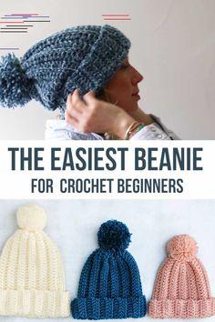 Easy Crochet Beanie Hat - Free Pattern + Video Tutorial - This easy to . - Easy Crochet Beanie Hat – Free Pattern + Video Tutorial – This easy-going crochet hat from Make - Crochet Beanie Hat Free Pattern, Easy Crochet Hat Patterns, Bonnet Crochet, Baby Hat Knit, Crocheted Baby Hats, Crochet Hats For Kids, Easy Crochet Baby Hat, Easy Crochet Headbands, Mens Crochet Beanie