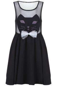 "$39.99 ""Cat Face"" Black Dress: Black gauze on the top, detachable front bowtie, elastic waist, sleeveless, lined skirt."
