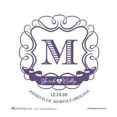 Wedding Monogram Modern Vintage Style by Anthologyarts on Etsy