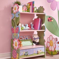 Fantasy Fields - Magic Garden Wooden 3 Shelves Kids Bookcase with Drawer Storage , Imagination Inspiring Craft & Paint , Non-Toxic, Lead-Free Water-Based Paint - Flowers Butterflies Pink Bookcase With Drawers, Wooden Bookcase, Kids Bookcase, Bookshelves, Bookshelf Design, Vertical Bookshelf, Toy Storage Bench, Drawer Storage, Wooden Rocking Chairs
