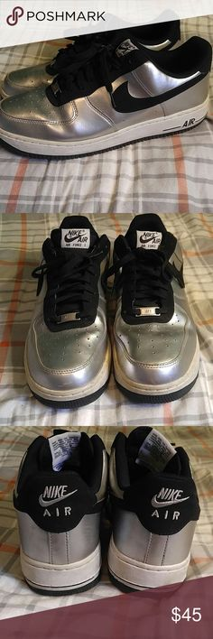 Nike Silver/Black Air Force 1s Sz 11.5 Extra fly pair of Nike AF 1s. A gorgeous shoe in a super fresh colorway. Lightly used and missing the insoles (reason for low price) which can be easily replaced at any sneaker store or online. Don't let this rare pair of sneakers pass you by! Nike Shoes Sneakers