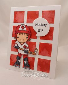 While out and about this week, we came across a patriotic card made by Irene Rhodes that features the stamp Darius. Darius is a hockey player and with Canada Day next Wednesday it is perfect timin… Boy Cards, Kids Cards, Cute Cards, Men's Cards, Hockey, Make Your Own Stencils, Handmade Card Making, Handmade Cards, Thing 1