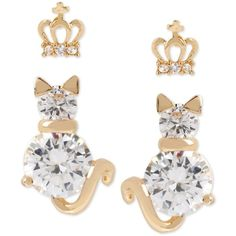 Betsey Johnson Gold-Tone Crystal Crown and Cat Stud Earring Set (2.280 RUB) ❤ liked on Polyvore featuring jewelry, earrings, gold, gold tone earrings, gold tone jewelry, crown stud earrings, betsey johnson and crystal earrings