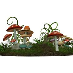 DSDesign_WelcometoWonderland_mushrooms.png ❤ liked on Polyvore featuring alice in wonderland, mushrooms, alice, floral and tubes