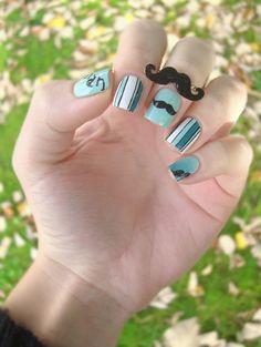 Movember nails ! Mustache nail art ♂ www.pinterest.com/WhoLoves/Movember ت #Movember #prostatecancer #menshealth