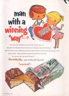 Man with a winning way Milky Way Candy Bar Valentine's Day ad 1953