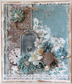 Vintage Cards Handmade Ideas Mixed Media Ideas For 2019 Mixed Media Cards, Shabby Chic Cards, Beautiful Handmade Cards, Marianne Design, Get Well Cards, Home And Deco, Pretty Cards, Card Tags, Flower Cards
