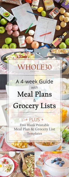 Plan & grocery list 4 individual weeks of meal plans and grocery lists Whole 30 Diet, Paleo Whole 30, Whole 30 Recipes, 30 Day Whole 30 Meal Plan, Whole 30 Menu, Whole 30 Rules, Whole Foods Meal Plan, Menu Dieta Paleo, Recetas Whole30