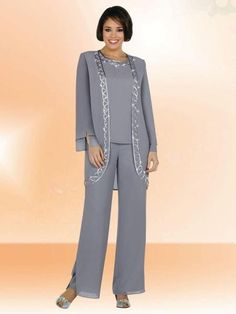 728b09767ab 2016 Grey Formal Chiffon Mother Of The Bride Pant Suits Shining Sequin Long  Sleeve Jacket Plus Size Three Pieces Evening Dresses For Mothers The  Doctors Mom ...