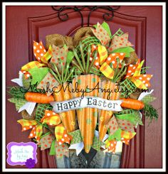 Happy Easter wreath, Deco paper mesh wreath, spring deco mesh wreath on Etsy, $75.00