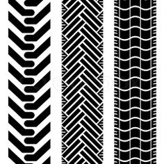 Vector of 'Collection of tire treads in black and white with repeat pattern'
