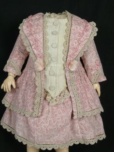 FRENCH ROSA PATTERNED COTTON ANTIQUE DOLLS DRESS